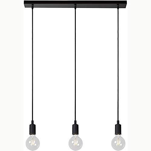 Mengjay Lámpara colgante vintage triple con casquillo E27 y cable de tela, Industrial Lámpara Araña del Techo, ajustable, sin fuente de luz, Negro, para Dormitorio sala comedor cafetería comedor (C)