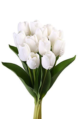 Roqueen 12 Pezzi Tulipani Artificiali Tocco Reale Fiori Finti per Casa Nozze Mazzo Festa Preparativi Ufficio DIY Decorazione (Bianca)