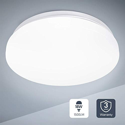 Teckin Deckenlampe 18W LED Deckenleuchte Bürodeckenleuchten lampe badezimmer lampen für Büro Schlafzimmer Küche Balkon Wohnzimmer 4500K neutral weiss 1500LM Ø28cm IP44