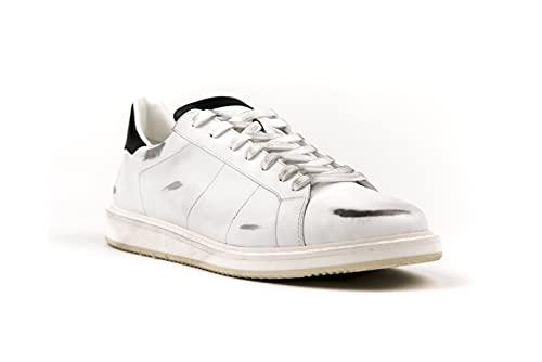 Matt – Modelo Place White Spoiler Negro, Zapato Hombre, Zapatillas fabricadas a mano, Color blanco., 44 EU