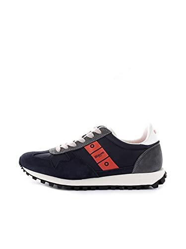 Blauer USA Dawson01 Nvo Navy Orange Sneakers per Uomo in Nabuk e Tessuto Blu (Taglia 42)