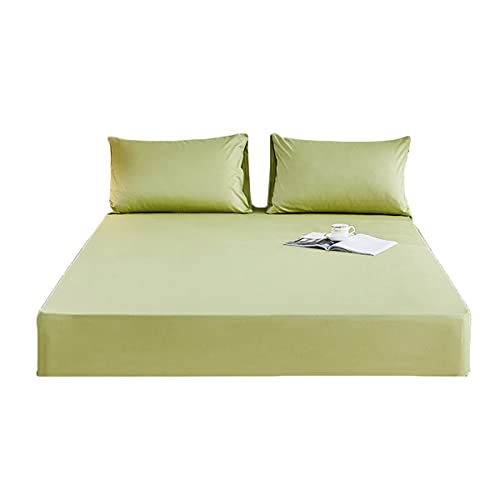 QIANGU Premium Sábana Bajera Algodón Altura del Colchón 3-28 Cm Cubre Colchón para Cama para Cuatro Temporada Adaptable Lavable En Lavadora (Color : Green-C, Size : 120x200+28cm)