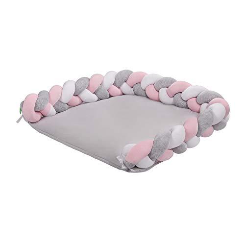 Lulando Kettenmatte Zopf Welur Weiß Rosa Grau