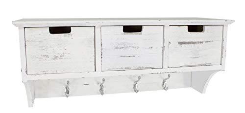 DARO DEKO Garderobe mit 4 Kleider-Haken weiß antik 70 x 25 x 30cm