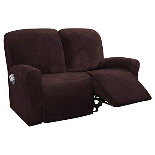 Funda de sofá reclinable con Todo Incluido para sofá elástico de 3 Asientos Funda de sillón de Gamuza Funda de sillón de Gamuza Protector de Silla Antideslizante-2 plazas S6