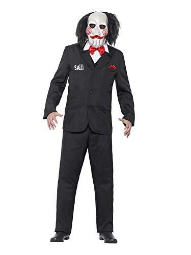 """Smiffys-20493XL Licenciado Oficialmente Disfraz de Saw Jigsaw, con Careta, Americana, Camisa y Falso Chaleco, Color Negro, XL-Tamaño 46""""-48"""" (Smiffy"""