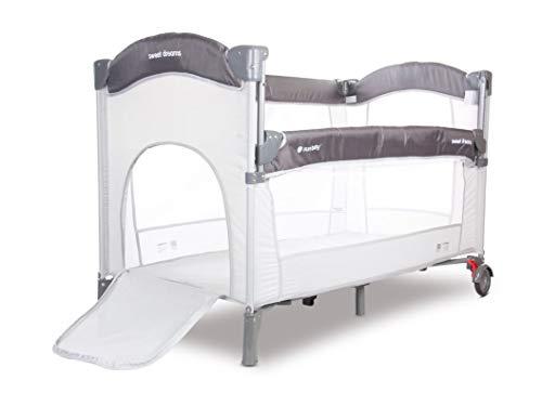 Cuna de viaje plegable con ruedas, colchón, Sweet Dreams con función de cama en color gris/rosa (SUNB.B02.005.1.2)