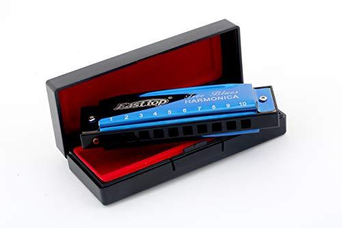 East Top 10 Holes Professionelles Diatonic Blues Harmonica Mundharmonika Blau Für professionelle Spieler, Anfänger, Studenten, Erwachsene, Kinder, als bestes Geschenk