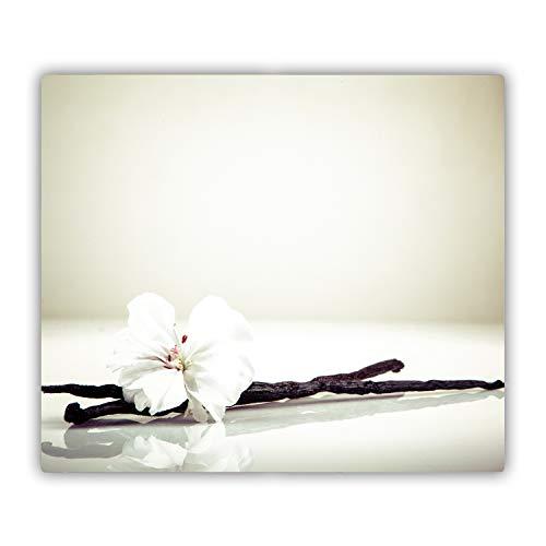 Tulup Glas Herdabdeckplatte Ceranfeldabdeckung Spritzschutz Glasabdeckplatte Kochplattenabdeckung und Schneidebrett - 80x52 cm - Blumen & Pflanzen - Vanilleschote - Weiß
