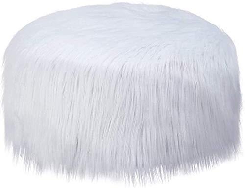 BUSUANZI Bohnenbeutel-Stuhl Anti-Skid-Hocker-Abdeckung, Multifunktions-Bohnenbeutel-Abdeckung Faux Fuchspelz Runder Sofa-Cover Ottomaner Fußhocker Cover Plüsch,1