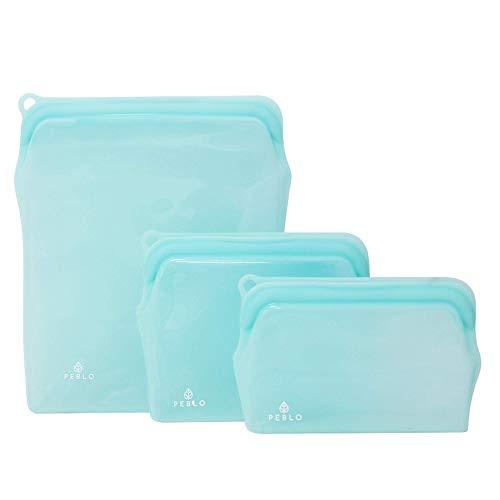 Peblo Reusable Silicone Food Bags with Zip Lock Seal | Leakproof Fridge &...