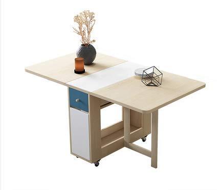 HMCL Mesa de comedor plegable móvil, 2-6 personas retráctil rectangular multifunción mesa, hay 4 taburetes y 2 estantes de almacenamiento, para espacios pequeños, color madera