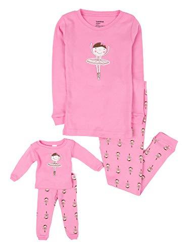 "Leveret""Ballerina"" Matching Kid & Doll 2 Piece Pajama 100% Cotton (2T-8Y) (7-8 years, Pink)"