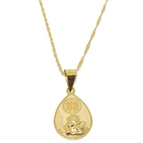 Never Say Never Medalla Ángel de la Guarda Oro Amarillo 18 Quilates Diseño Italiano   Joyería Religiosa, Comunión, Regalo para niño, niña