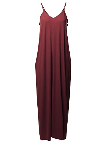 Casual Premium Adjustable Strap Side Pockets Loose Long Maxi Dress 1X