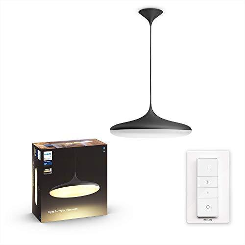 Philips Hue White Amb. LED-Pendelleuchte Cher inkl. Dimmschalter, schwarz, dimmbar, alle Weißschattierungen, steuerbar via App, kompatibel mit Amazon Alexa (Echo, Echo Dot)