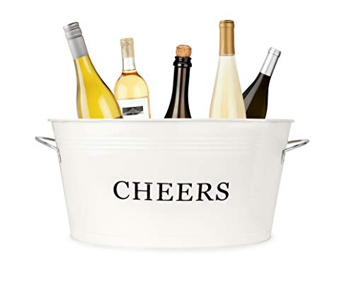 Twine Rustic Farmhouse Decor, Ice Bucket And Galvanized Cheers Tub, 6.3 gallons, cream