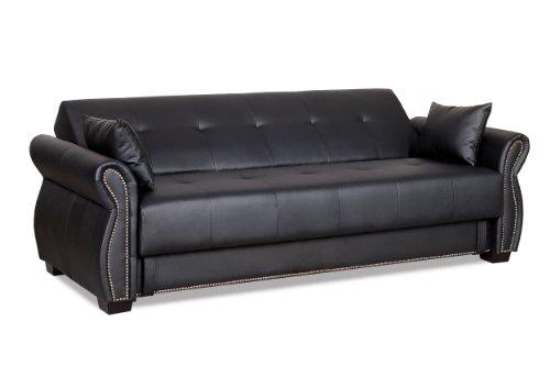 Serta SA-AVO-EBY-Set Dream Convertible Seville Sofa with Storage, Ebony, 85.4 L x 34.8 W x 33.7 H