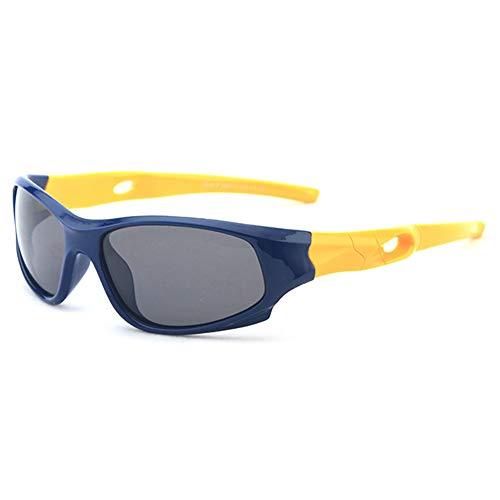 VEVESMUNDO Kinder Sport Sonnenbrille Polarisierte UV400 Schutz Fahrerbrille Fahrradbrille Gummi Flexibel Klar Sportbrille für Jungen Mädchen (Kinder für 3-12 Jahre, Dunkelblau Rahmen & Gelb Bügel)
