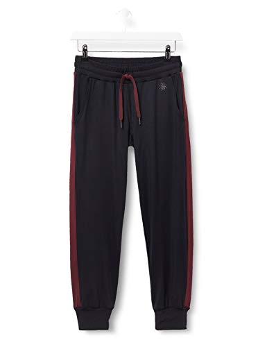 Amazon-Marke: AURIQUE Damen Jogginghose verkürzt mit Seitenstreifen, Schwarz (Black/Port Royale), 38, Label:M