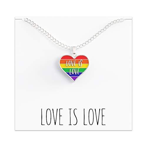"Pride Necklace LGBTQ Gift - Bi Gay Trans Lesbian Jewelry – ""Love Is Love"" Rainbow Heart"
