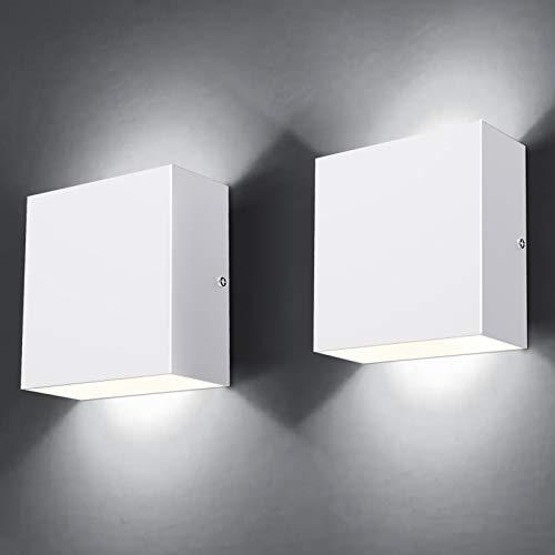 MICUTU 2 Piezas Lámpara Pared Interior LED, 10 W Moderna Luz Pared Interior, Aplique Blanco frío 6000 K, Lámpara Pared Moderna Perfecta para Sala Estar, Dormitorio, Pasillo, Balcón (Blanco frío)