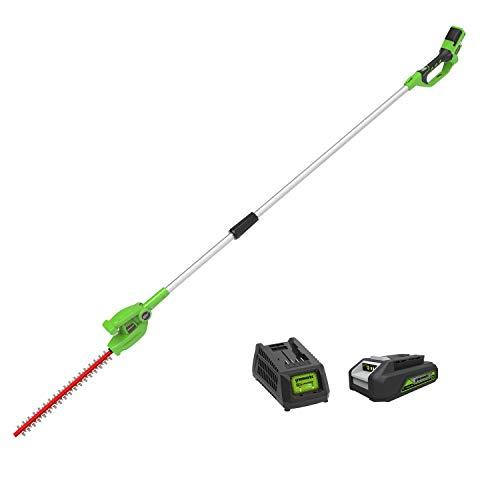 Greenworks Taille-haie télescopique à batterie G24PH51K2 épée Li-Ion 24 V 51 cm longueur 18 mm espacement des dents 1500 coupes/min 200 cm perche télescopique incl. batterie et chargeur