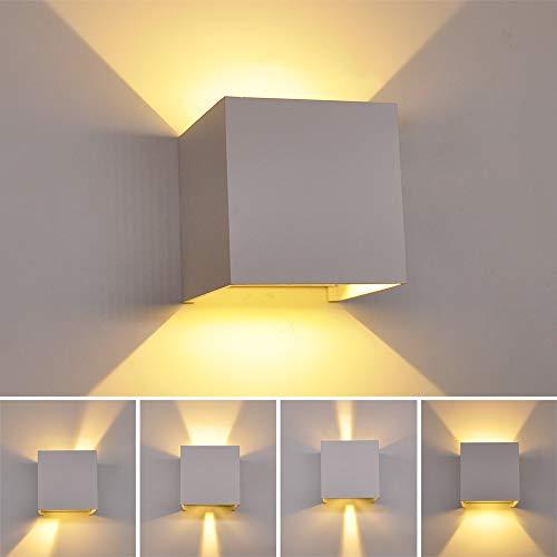 Luz de jardín montada en la pared de aluminio blanco puro,iluminación ascendente...
