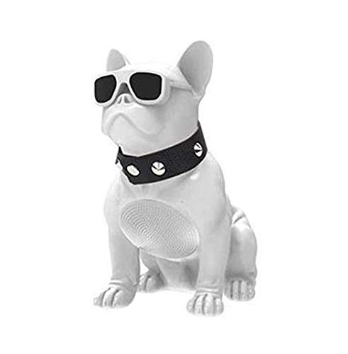 CH-M10 Bulldog Head Rotatable Wireless Bluetooth Speaker Support TF Card Stereo System/FM Radio for TV Computer Phone Desktop (White)