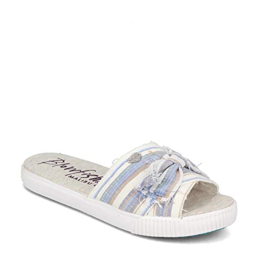 Blowfish Malibu Women's, Fondue Slide Blue Multi 7.5 M