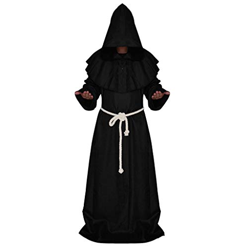 SOOY Disfraz de Monje - Sacerdote - hbito con Capucha - fraile - Edad Media - Disfraces de Hombre - Halloween - Carnaval - Accesorios - Talla s - Idea de Regalo Original Cosplay