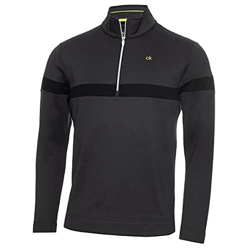 Calvin Klein Mens Scale Performance 1/2 Zip Sweater - Dark Grey Marl - L