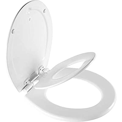 MAYFAIR 88SLOW 000 NextStep2 Toilet Seat with Built-In Potty Training Seat, Slow-Close, Removable that will Never Loosen, ROUND, White