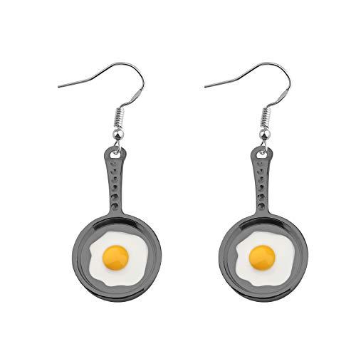 BAUNA Cooking Baking Chef Charms Earrings Frying Pan Fried Egg Dangle Hook Earrings Lunch Lady Gift Kitchen Cooking Gift (Black Fried Egg Dangle Earrings)