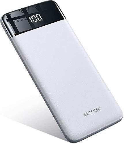 TOVAOON Powerbank, Externer Akku 10000mAh Mobiles Netzteil,Slim Tragbares Kompakt Ladegerät mit LED-Display klein und Leicht für Smartphones,Tablets etc.