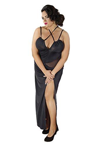 Erotisches schwarzes Abendkleid XXL Größe elastisches Dessous Nachtkleid lang (46/48)