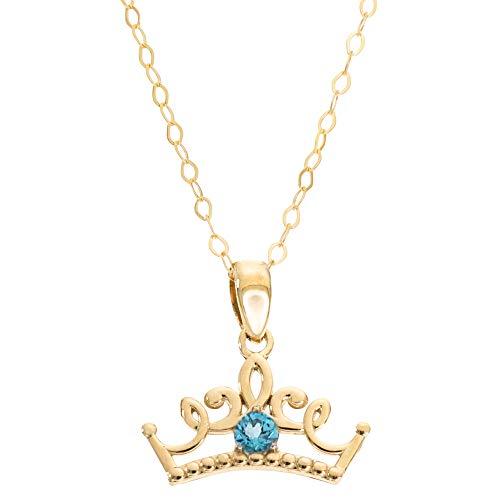 Disney Princess Jewelry, 14KT Yellow Gold Blue Topaz Tiara Pendant Necklace, 16 Inch Chain;