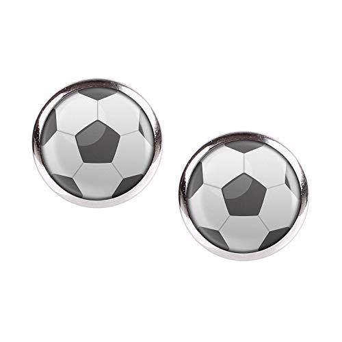 Mylery Ohrstecker Paar mit Motiv Fußball Fussball Schwarz Weiß Soccer Football silber 12mm