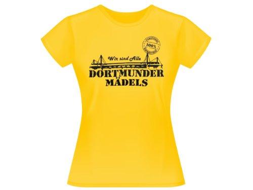 Dortmunder Mädels T-Shirt Dortmund Fanartikel Fanshirt Shirt 100% gelb, wählen:S