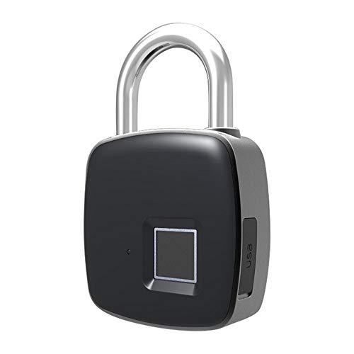 Smart Padlock Anti-Theft Keyless Biometric Security Lock USB Charging Fingerprint Padlock-Smart Lock for Indoor Outdoor Use (Color : Black, Size : M)