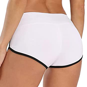 TYUIO Women Summer Mini Shorts Sports Gym Workout Yoga Booty Short White XS