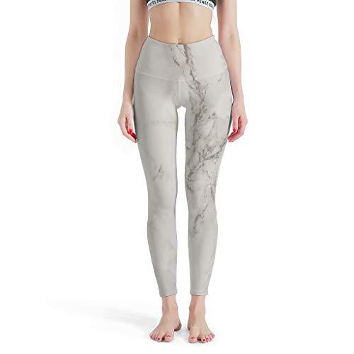 FFanClassic Leggings Deportivos Textura Mármol Mujer Esenciales Control de Barriga - Pantalón de Yoga para Deportes Blanco XL