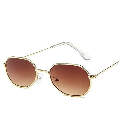 Gafas de Sol Gafas De Sol con Montura Poligonal Vintage para Mujer, Gafas con Montura Metálica, Gafas De Diseñador De Moda para Hombre, Espejo 4