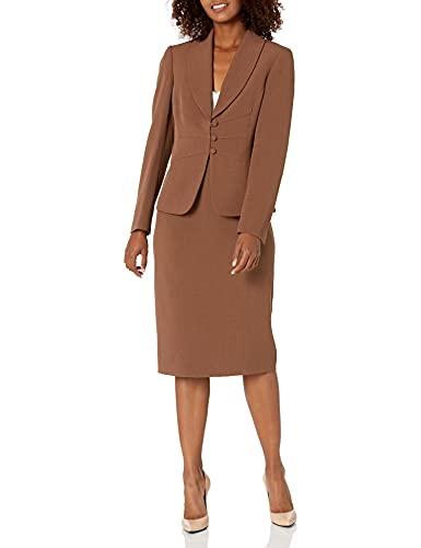 Le Suit Women's Crepe Shawl Collar Seamed Jacket & Skimmer Skirt, BARK, 6