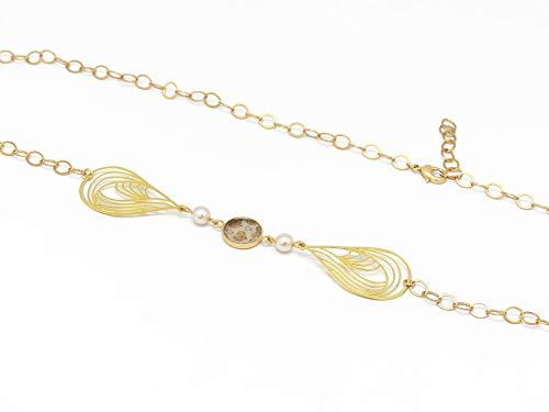 Verstellbares Stirnband Herz beige weiße Swarowski-Perlen Perlmutt Creme Messing Gold 24k Haar-Accessoire Art Deco Geschenk Weihnachten Freundin Mama Geburtstag Hochzeitsgast