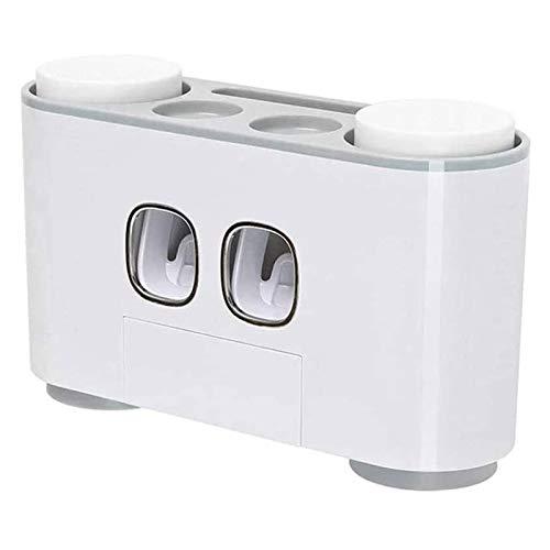 SFLRW Titular de cepillo de cepillo de cepillo de pared Dispensador de pasta de dientes Automático gris cubierta a prueba de polvo para ducha Cuarto de baño con 2 pisos de pasta de dientes (no eléctri