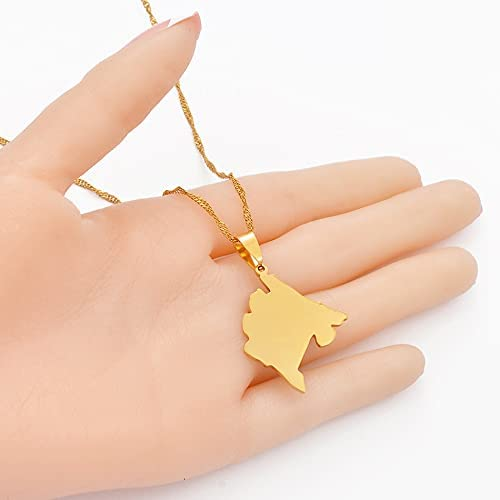Montenegro Map Pendant Necklaces for Women Girls Gold Color Ethnic Jewelry Stainless Steel Necklaces