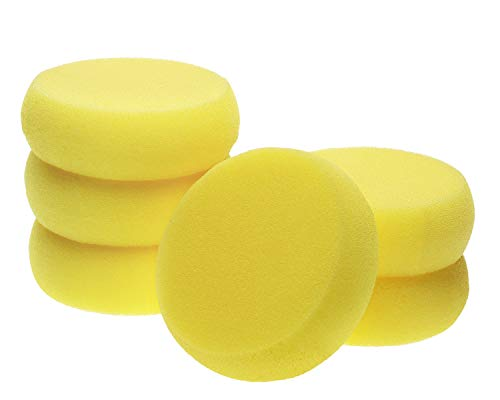 Penta Angel Round Sponges 6pcs 3inch Yellow Painting Sponges Synthetic Artist Sponges Watercolors Sponges for Art & Craft Pottery Clay Cleaning Ceramics Wall (Round Painting Sponges)