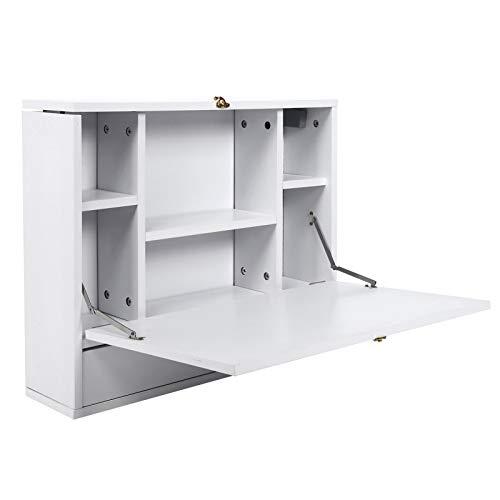 AYNEFY Escritorio de pared para ordenador portátil, multifuncional, plegable, para el hogar y la oficina