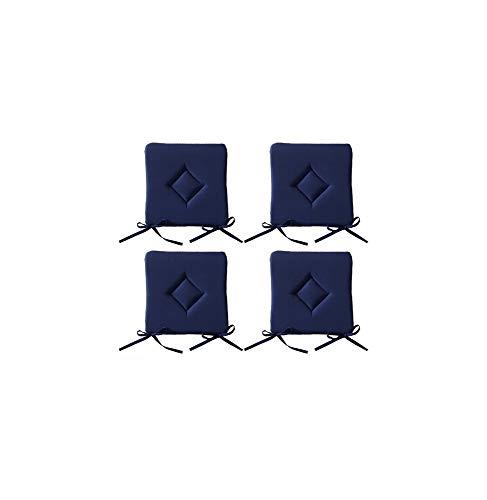 AC-Déco Galette De Chaise - Lot De 4-40 X 40 Cm - Bleu Foncé